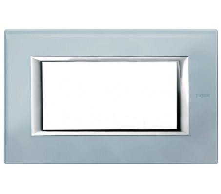 Bticino axolute placca 4P vetro azzurro sera