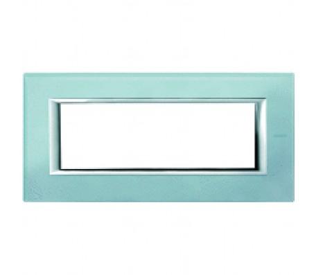 Bticino axolute placca 6P vetro azzurro sera