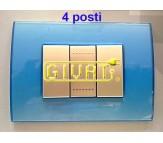 Bticino LivingLight placca 4 posti azzurro
