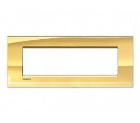 Bticino LivingLight placca 7 posti oro freddo