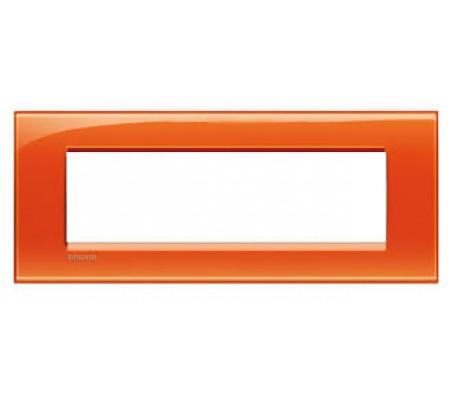 Bticino LivingLight placca 7 posti arancio