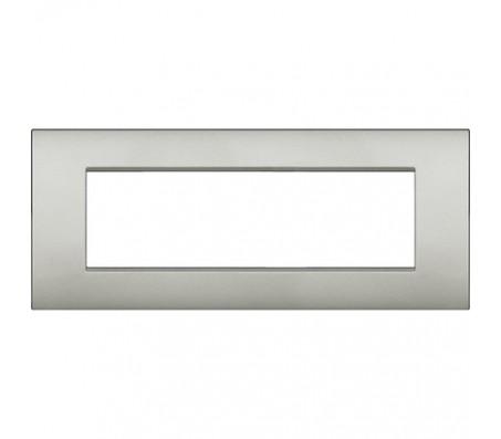Bticino LivingLight placca Air 7 posti argento lunare