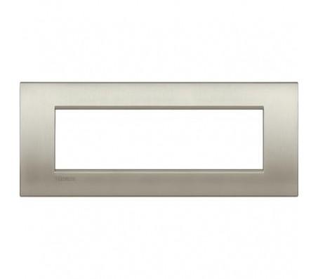 Bticino LivingLight placca Air 7 posti titanio spazzolato