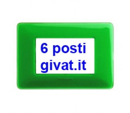 Bticino matix placca 6 posti colors smeraldo