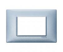 Vimar Plana Placca 3 moduli blu metallizzato