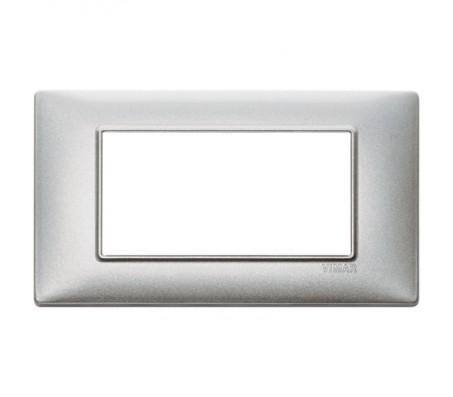 Vimar Plana Placca 4 moduli argento metallizzato